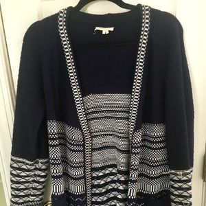 Navy and white thick knit cardigan.